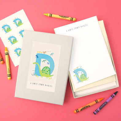 Personalised Illustrated Letter D Writing Set