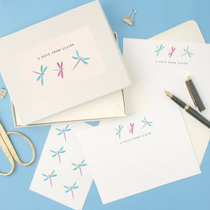 Personalised Dragonflies Writing Set With Stickers