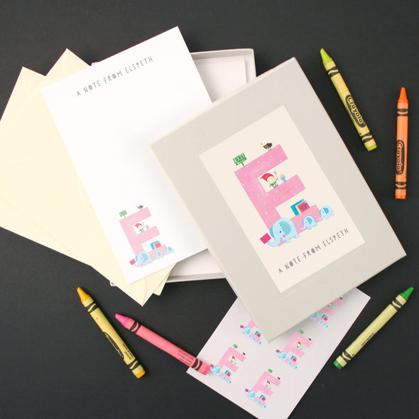 Personalised Illustrated Letter E Writing Set