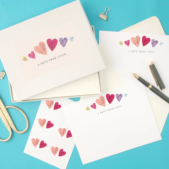 Personalised Hearts Writing Set With Stickers