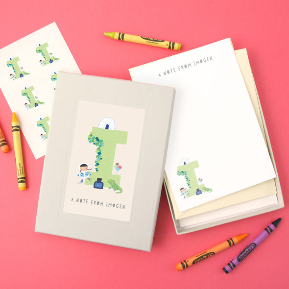 Personalised Illustrated Letter I Writing Set