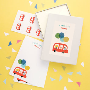 Personalised Children's Writing Set With Bus Design