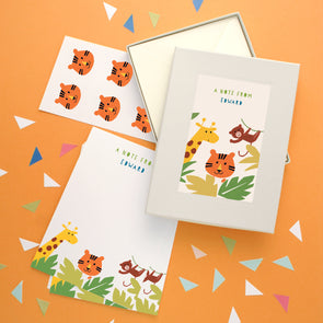 Personalised Children's Writing Set With Jungle Design
