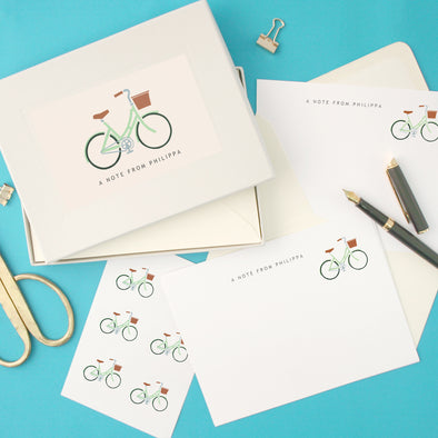 Personalised Green Ladies Bicycle Writing Set With Stickers
