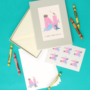 Personalised Illustrated Letter N Writing Set