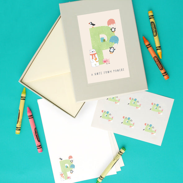 Personalised Illustrated Letter P Writing Set