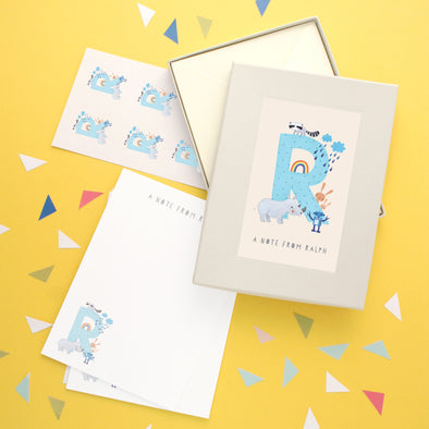 Personalised Illustrated Letter R Writing Set