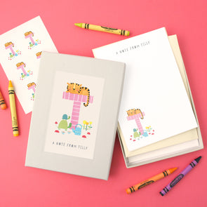 Personalised Illustrated Letter T Writing Set