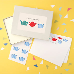 Personalised Teapots Writing Set With Stickers