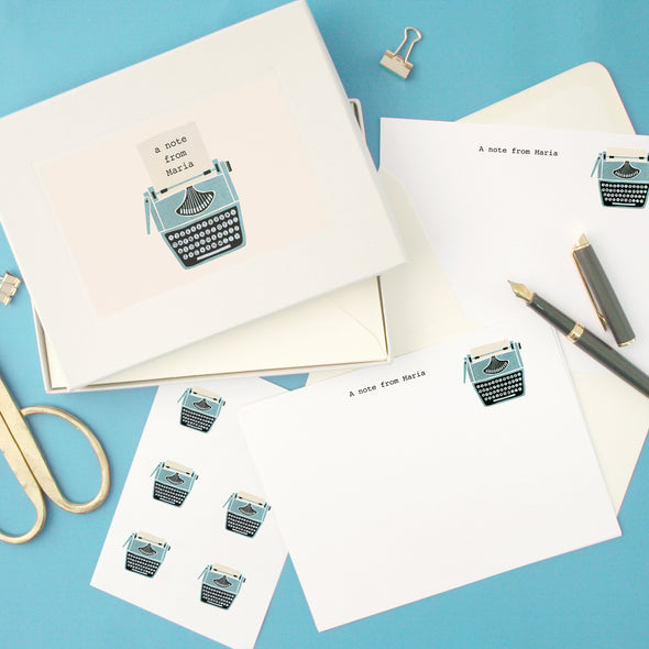 Personalised Typewriter Writing Set With Stickers