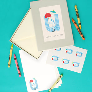 Personalised Illustrated Letter U Writing Set