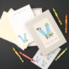 Personalised Illustrated Letter V Writing Set