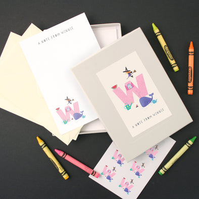 Personalised Illustrated Letter W Writing Set