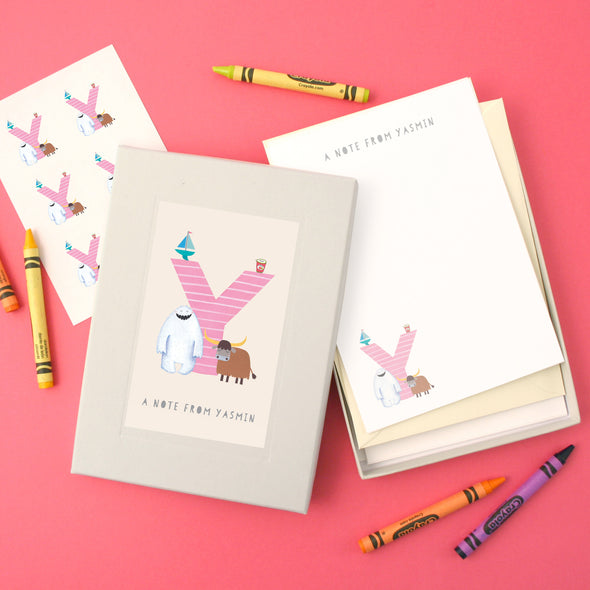 Personalised Illustrated Letter Y Writing Set