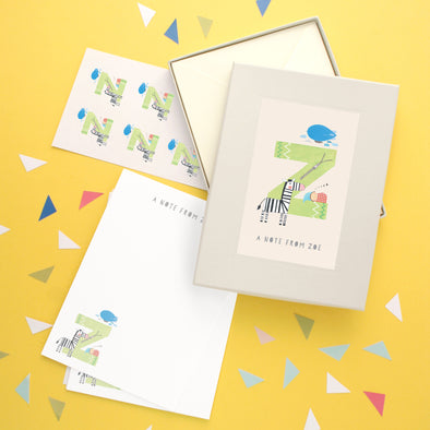 Personalised Illustrated Letter Z Writing Set