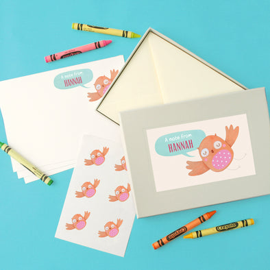 Personalised children's writing set with owl design
