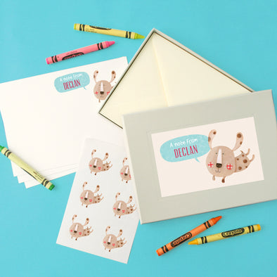 Personalised Children's Writing Set With Dog Design