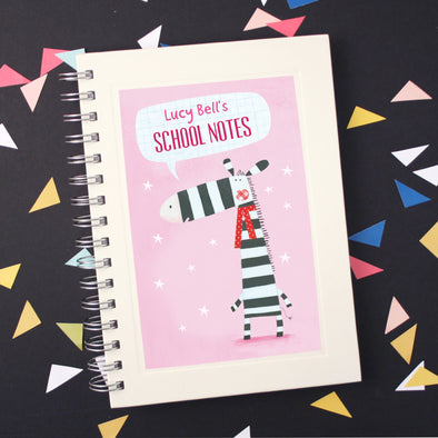 Personalised Zebra Wire Bound Children's Notebook