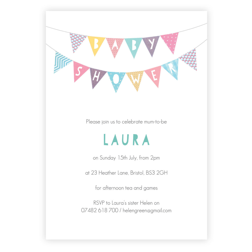 Personalised Baby Shower Invitations With Bunting Design