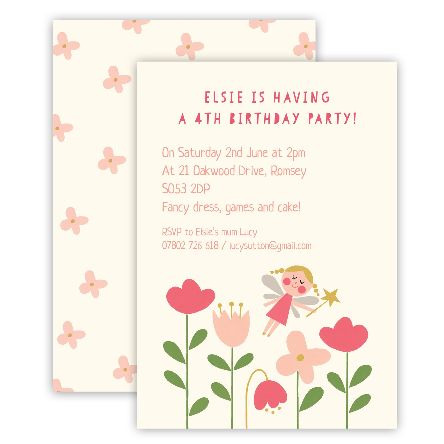 Personalised Children\'s Flower Fairy Birthday Party Invitations ...