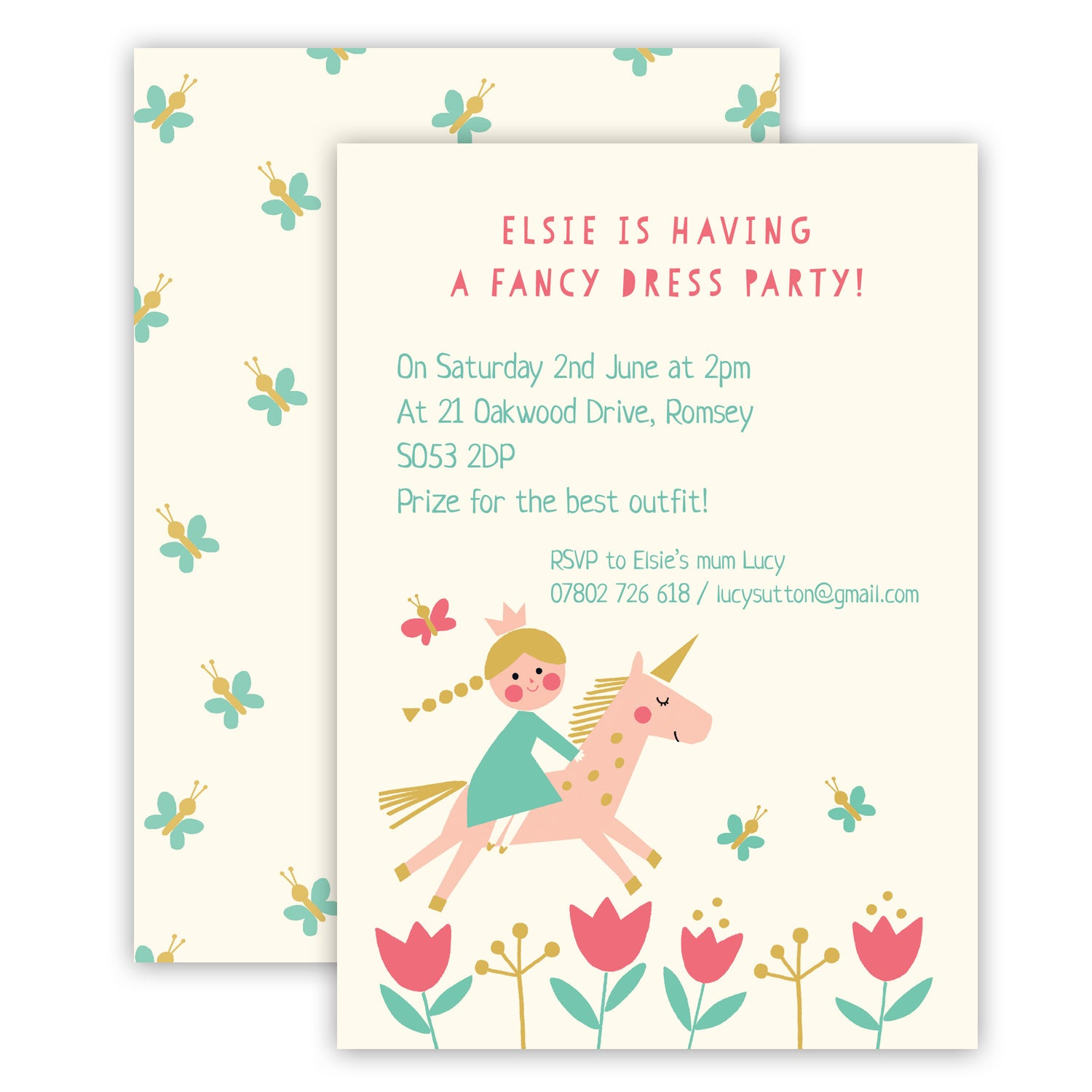 Personalised Princess and Unicorn Children\'s Birthday Party ...