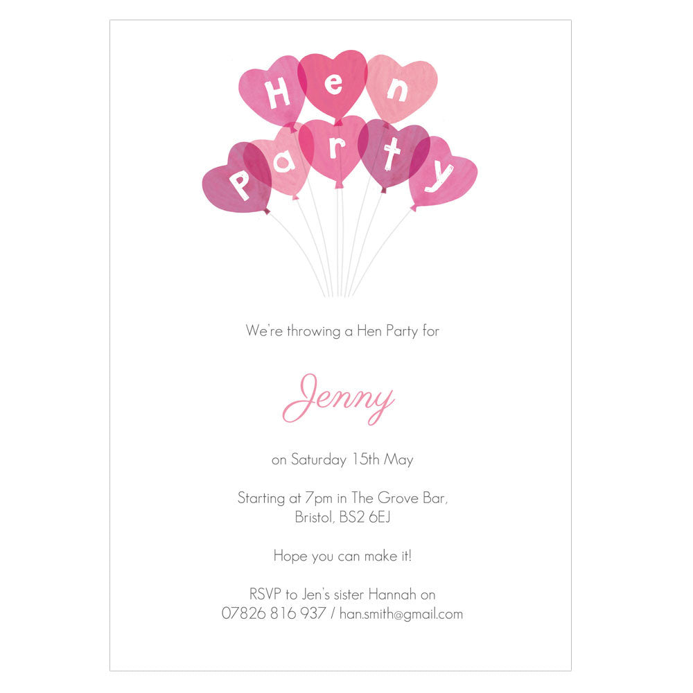 Personalised Hen Party Invitations With Envelopes – madebyellis