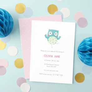 Personalised Naming Day Invitations With Owl Illustration