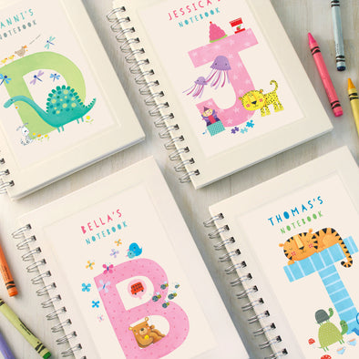Personalised children's initial notebook
