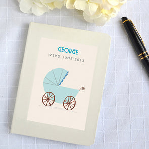 Personalised baby book notebooks with blue pram illustration