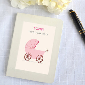 Personalised Pink New Baby Hardback Lined Notebook Pram Design