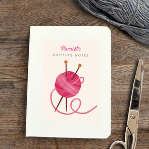 Personalised knitting notebook with yarn and needles illustration