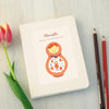Mum to be notebook with personalisation and Russian doll illustration