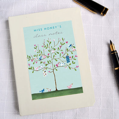 Personalised Thank You Teacher Notebook Tree Design