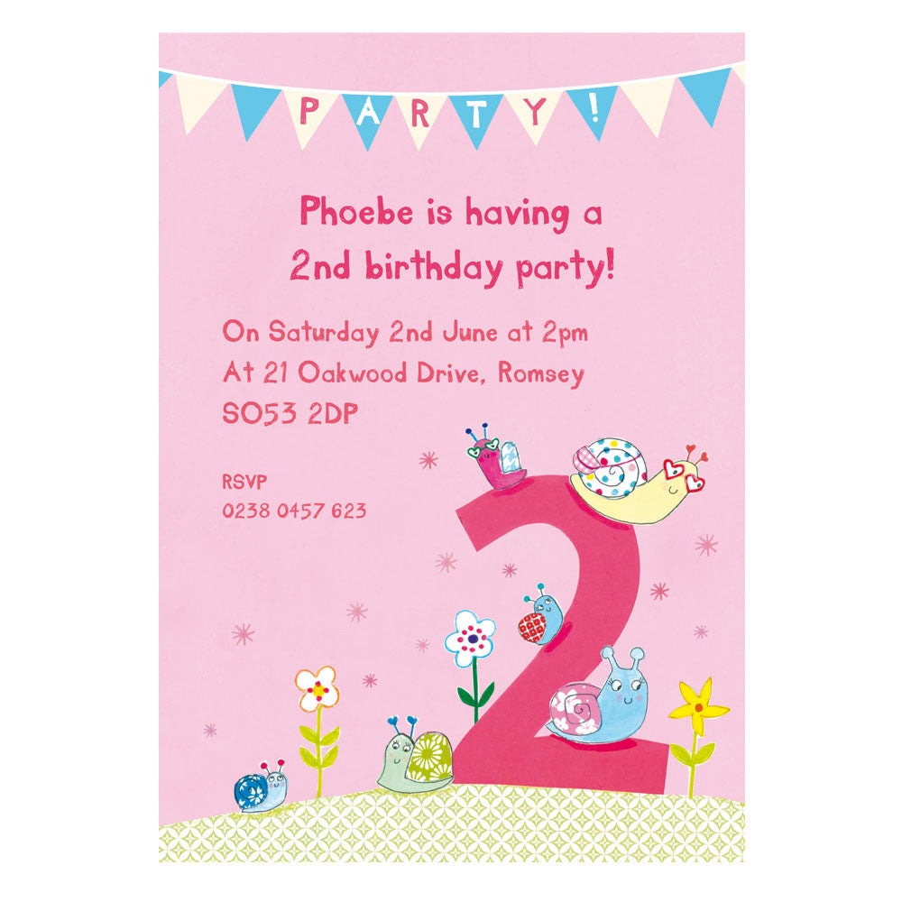 Personalised Second Birthday Childrens Party Invitations