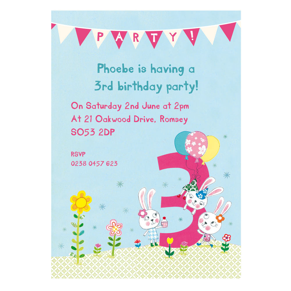 Personalised third birthday childrens party invitations madebyellis personalised third birthday childrens party invitations filmwisefo
