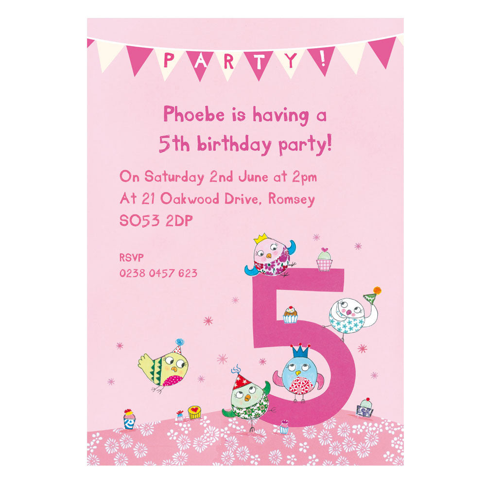 Personalised Fifth Birthday Childrens Party Invitations