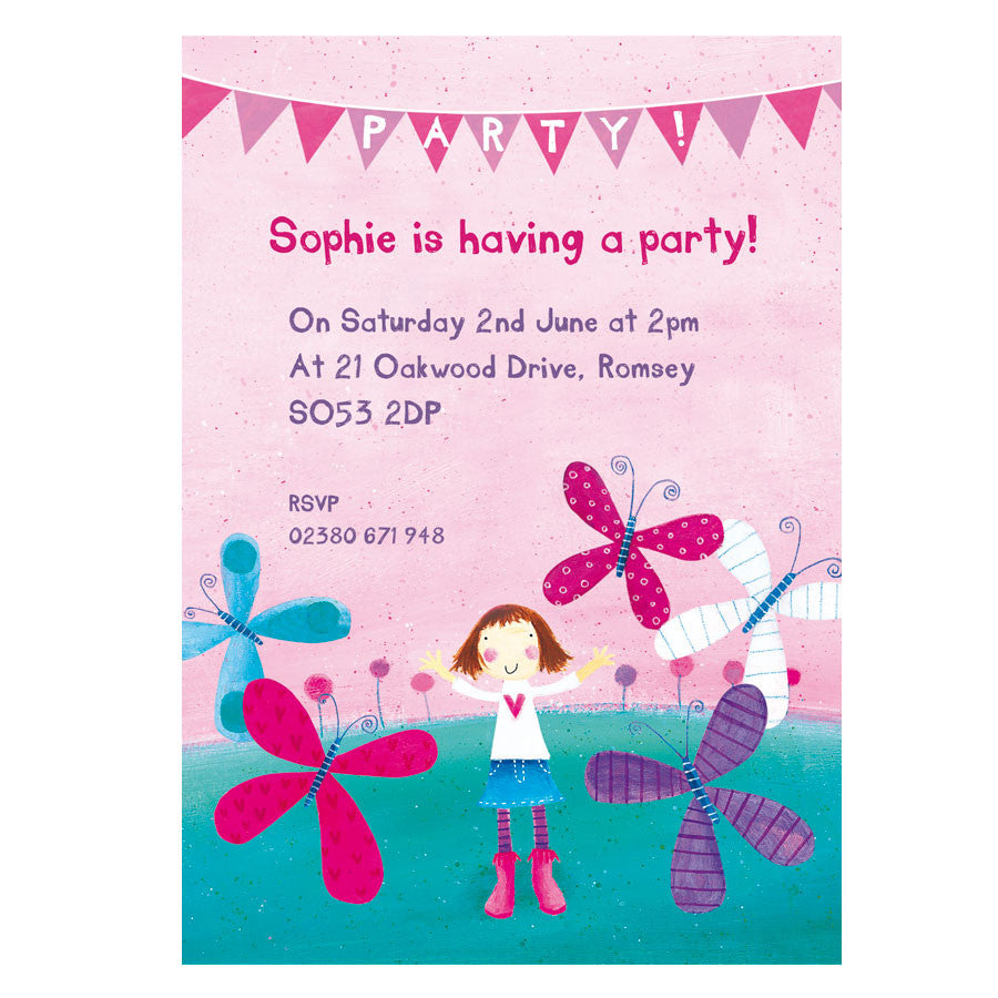 Personalised butterfly and girl party invitations madebyellis personalised butterfly and girl party invitations monicamarmolfo Choice Image