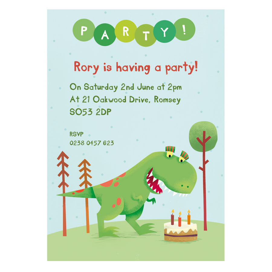 Personalised Dinosaur Party Invitations With TRex or Triceratops