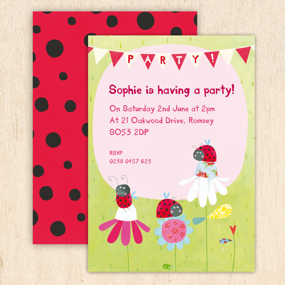 personalised ladybird children s party invitations madebyellis