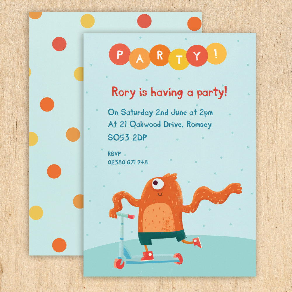 personalised scooter monster children s party invitations madebyellis