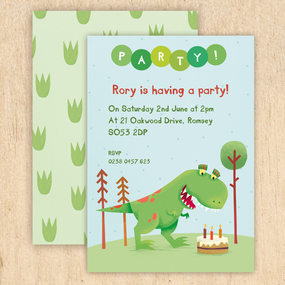 Personalised Dinosaur Party Invitations With T-Rex or Triceratops ...