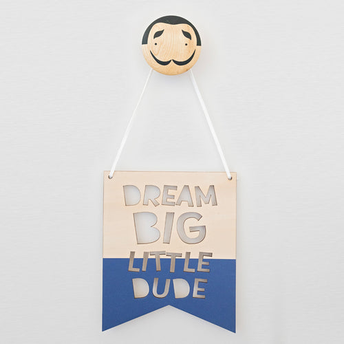 Little Dude Banner Plaque Painted Blue