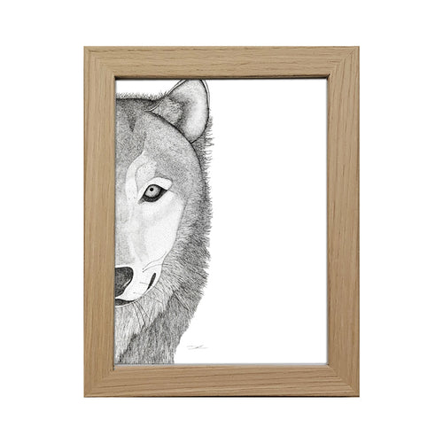 Framed 5x7 Timber Frame - Willow the Wolf