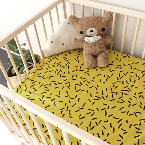 'Mustard' Fitted Cot Sheet