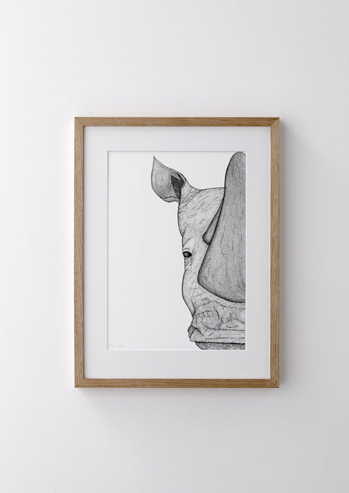 Framed 5x7 Timber Frame - Reggie the Rhino (limited addition)