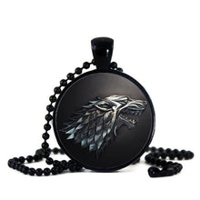 Ice & Fire Black Glass Cabochon Bead Necklace