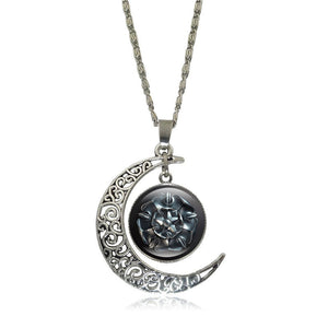 Ice And Fire Crescent Moon Cabochon Pendant Necklace