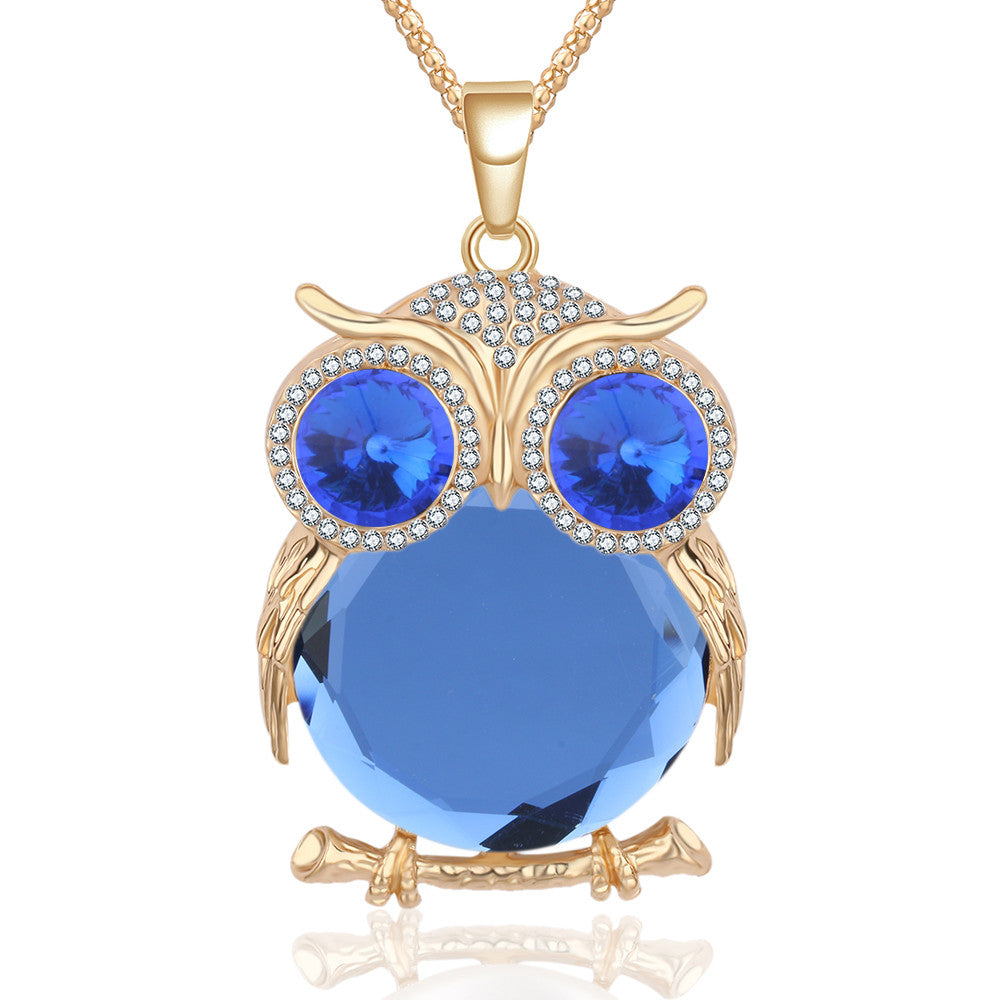 Crystal Owl Rhinestone Pendant Necklace