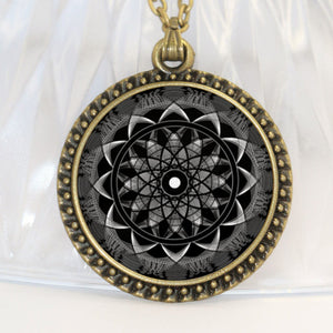 Free! Black Indian Flower Glass Cabochon Amulet