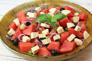 Fresh Watermelon Salad with Melty Vegan Cheese